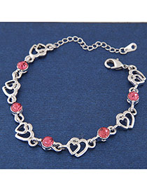 Sweet Red Round Diamond Decorated Hollow Out Hear Shape Chain Design Alloy Korean Fashion Bracelet