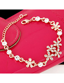 Sweet Gold Color Diamond Flower Shape Decorated Simple Design Alloy Korean Fashion Bracelet