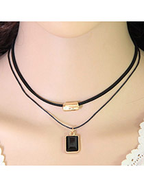 Elegant Black Square Gemstone Decorated Double Layer Design