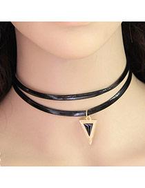 Elegant Black Triangle Pendant Decorated Double Layer Design
