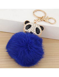 Lovely Sapphire Blue Bear&fuzzy Ball Decorated Simple Design Alloy Fashion Keychain