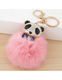 Lovely Pink Bear&fuzzy Ball Decorated Simple Design Alloy Fashion Keychain