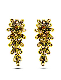 Exaggerate Gold Color Flower Decorated Multi-layer Design Alloy Stud Earrings