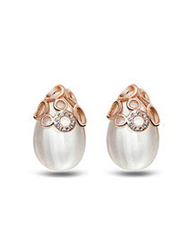 Personalized Gold Color Water Drop Shape Pearl Decorated Simple Design Alloy Stud Earrings