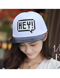 High-quality White Letter Hey Pattern Simple Design Canvas Baseball Caps