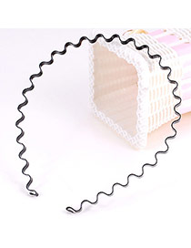 Concise Black Ripple Simple Design Alloy Hair band hair hoop