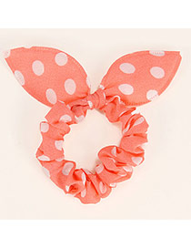 Vibrant Pink Big Dot Patttern Bowknot Shape Design Rubber Band Hair Band Hair Hoop
