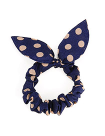 Vibrant Navy Blue Big Dot Patttern Bowknot Shape Design Rubber Band Hair Band Hair Hoop