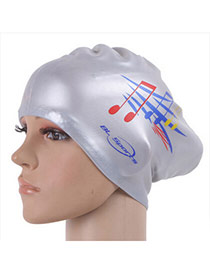 High-quality Silver Color Sheet Music Pattern Swimming Cap Design Resin Swimwear Accessories