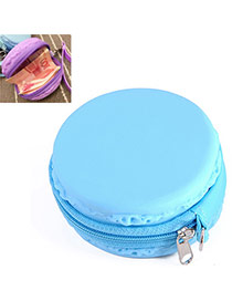 Candy Color Blue Round Shape Decorated Simple Design Silica Gel Wallet