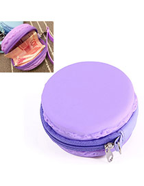Candy Color Dark Purple Round Shape Decorated Simple Design Silica Gel Wallet