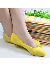 Candy Color Yellow Shallow Mouth Invisible Socks Simple Design Charcoal Cotton Fashion Socks