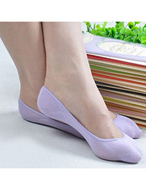 Candy Color Purple Shallow Mouth Invisible Socks Simple Design Charcoal Cotton Fashion Socks
