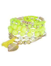 Candy Color Yellow Beads Decorated Leaf Shape Multilayer Design Alloy Korean Fashion Bracelet