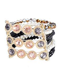 Extravagant Black Diamond Decorated Multilayer Design Alloy Korean Fashion Bracelet