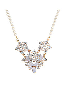 Sweet White & Sky Blue Pearl Decorated Flower Design Alloy Korean Necklaces