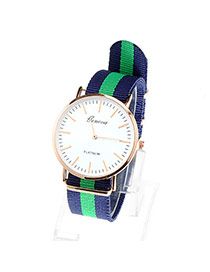 Popular Navy Blue & Green Stripe Pattern Simple Design