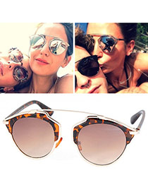 Discount Leopard Color Irregular Half-frame Simple Design Resin Women Sunglasses