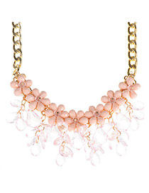 Glamour Pink Flower Shape Decorated Tassel Design Alloy Fashion Necklaces