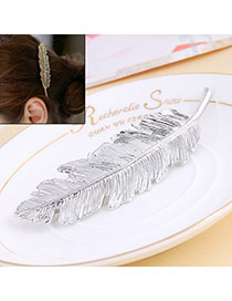 Classic Silver Color Leaf Shape Decorated Simple Design Alloy Hair clip hair claw
