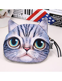 Cartoon Gray Cat Pattern Simple Design Flannel Wallet