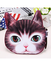 Cartoon White & Brown Cat Pattern Simple Design Flannel Wallet