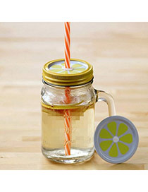 Boutique Orange 550ml Lemon Pattern Cover Cups Design With A Straw