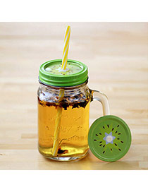 Boutique Green 550ml Kiwi Pattern Cover Cups Design With A Straw Glass Household goods