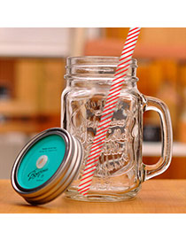 Health Blue 500ml Letter Pattern Cups Design With A Straw Glass Household goods