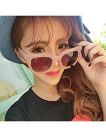 Trendy Pink Gap Frame Simple Design Alloy Women Sunglasses