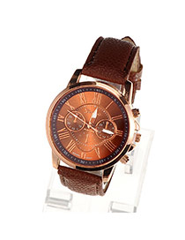 Fashion Dark Brown Roman Numerals Pattern Simple Design Alloy Ladies Watches