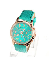 Fashion Gold Color Pure Color Decorated Large Dial Design Simple Watch