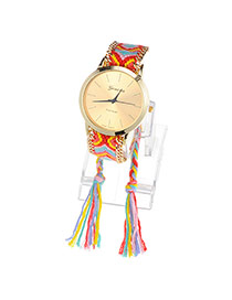 Ethnic Multicolor Tassel Weave Simple Design  Alloy Ladies Watches