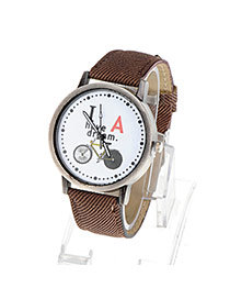 Wholesale Brown Bicycle Pattern Simple Design Alloy Ladies Watches