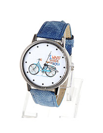 High-quality Blue Bicycle Pattern Simple Design Alloy Ladies Watches