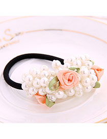 Pretty White Pearl Decorated Rose Shape Design Rubber Band Hair band hair hoop