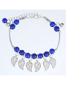 Fashion Sapphire Blue & Silver Color Beads Decorated Leaf Shape Design  Alloy Fashion Anklets