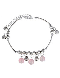 Glamour Pink & Silver Color Beads Decorated Bell Shape Design  Alloy Fashion Anklets