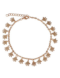 Hot Sale  Gold Color Hand Shape Decorated Simple Design  Alloy Fashion Anklets