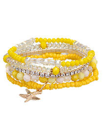 Newest Yellow Starfish Shape Decorated Multilayer Design Alloy Korean Fashion Bracelet
