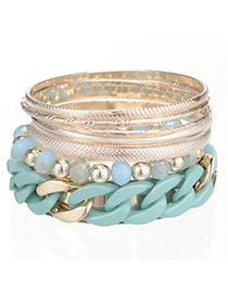 Vogue Green Chain Decorated Multilayer Design Alloy Fashion Bangles