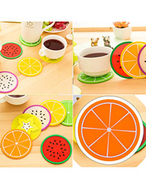 Candy Color  Orange Fruit Pattern Coaster Simple Design  Silica Gel Household goods