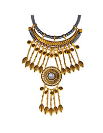 Vintage Bronze Leaf Shape Decorated Tassel Design  Alloy Fashion Necklaces