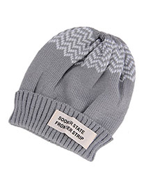 Casual Gray Letter Sooner State Decorated Simple Design Cashmere Knitting Wool Hats