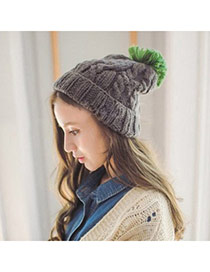 Fashion Dark Gray Ball Decorated Twist Simple Design Wool Knitting Wool Hats