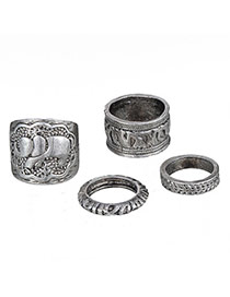 Retro Antique Silver Elephant Pattern Decorated Simple Design Alloy Korean Rings