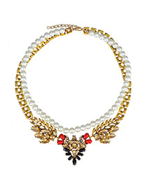 Charm Multicolor Pearl Decorated Double Layer Design  Alloy Korean Necklaces