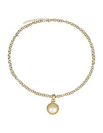Trendy Gold Color Pearl Pendant Decorated Simple Design  Alloy Korean Necklaces