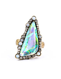 Retro Transparent Multicolor Diamond Decorated Triangle Shape Design Alloy