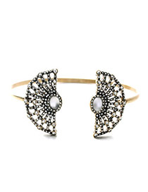Luxury White&bronze Diamond Decorated Fan Shape Design Alloy Fashion Bangles